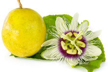 Passion Fruit Flower With Ripe...
