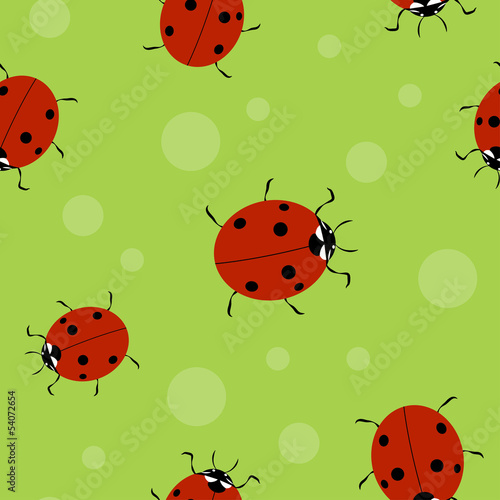 Poster Coccinelles Vector summer background, seamless pattern