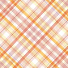 Retro Beige, Pink, White And Orange Plaid Pattern