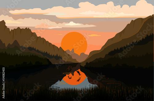 Tranquil mountain lake