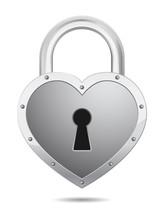 Padlock Icon Heart Shape