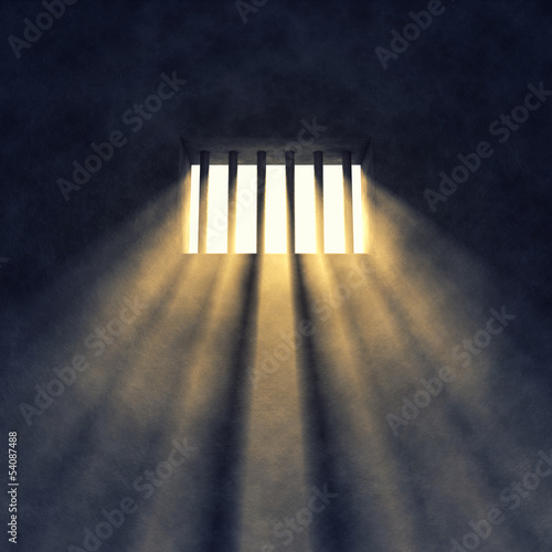 Prison cell interior , barred window Wallpaper Mural