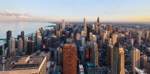 Spoed Foto op Canvas Grijze traf. Chicago skyline