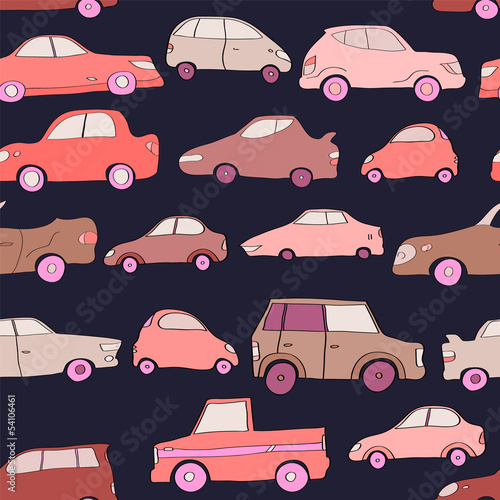 sliczni-kreskowki-menchii-samochody-na-zmroku-blekitny-bezszwowy-wzor-wektor