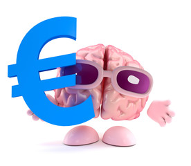 Brain holds Euro currency symbol