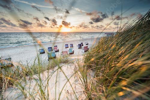Keuken foto achterwand Noordzee Sonnenuntergang in den Dünen