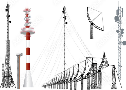 Fotografie, Tablou  collection of antenna silhouettes isolated on white