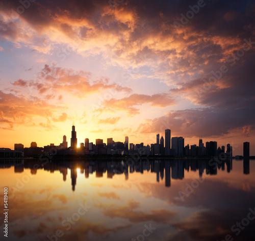 Poster de jardin Brun profond Chicago skyline
