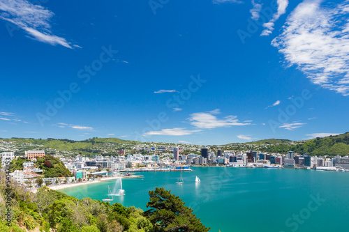 Fotobehang Nieuw Zeeland Bay of Wellington and harbour