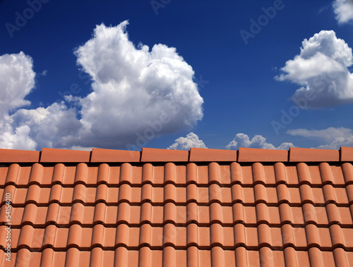 Fotografie, Obraz  Roof tiles against blue sky with clouds