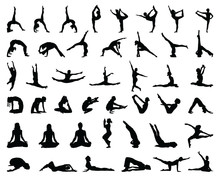 Silhouettes Of Yoga And Gymnas...
