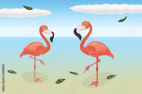 Canvas Prints Flamingo Bird Stoic flamingos