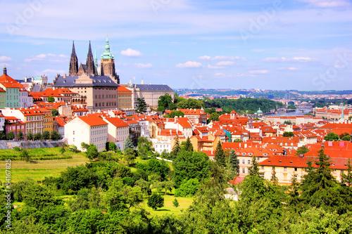 Staande foto Praag View over historic center of Prague with castle, Czech Republic