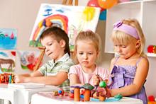 Children Sculpt In Of Plasticine