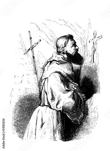 Fotografie, Obraz  Medieval Monk praying - Moine priant