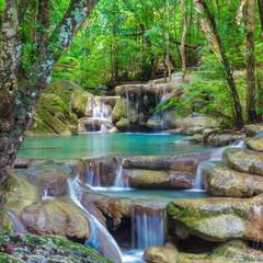 Naklejka Erawan Waterfall