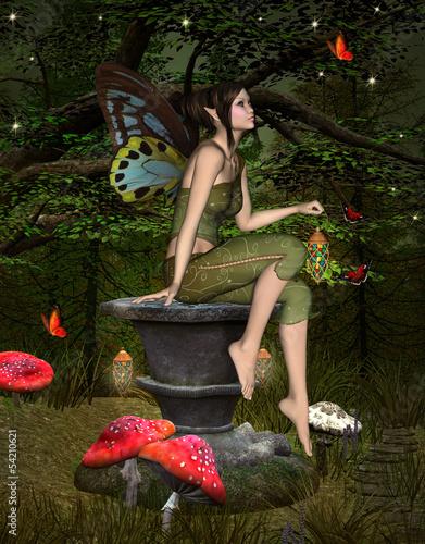 La pose en embrasure Fées, elfes Green elf on a pedestal