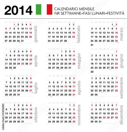 Settimane Calendario.Calendario 2014 Ita Mensile Festivita Settimane Lune Buy