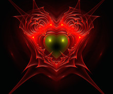 Heart In Fire. Computer Generated Fractal Artwork.