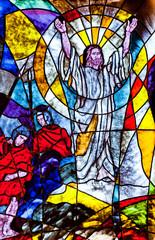 Naklejka Stained glass showing Jesus resurrection