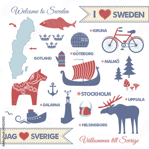 Fotografía  Set with symbols and map of Sweden