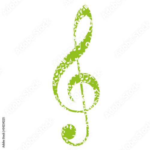 Autocollant - Musik Noten Notenschlüssel