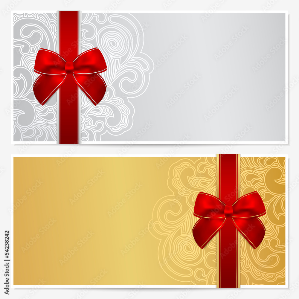 Gift Certificate Voucher Coupon Template Bow Ribbons Foto