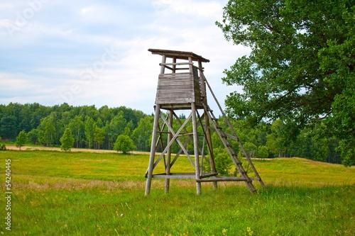 Fotografia  Hunt tower near the forest