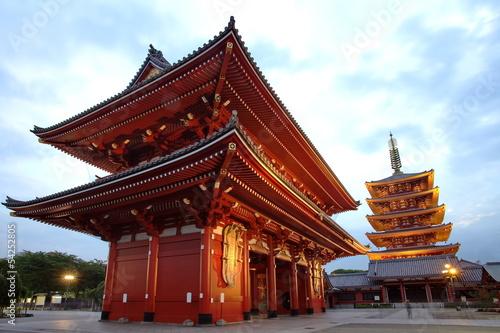 Poster Tokyo Sensoji-ji Red Japanese Temple in Asakusa, Tokyo, Japan