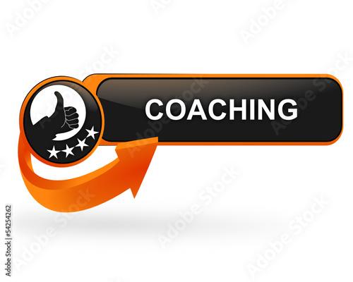 Photo coaching sur bouton web design orange