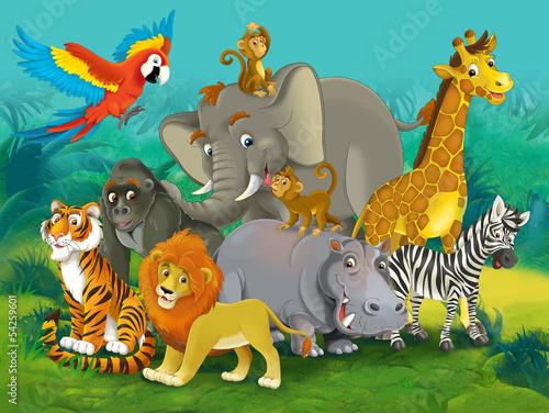 Naklejka premium Safari kreskówek - ilustracja dla dzieci