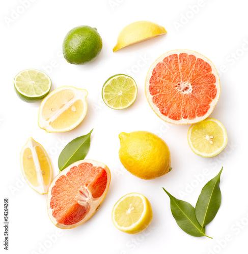 Fotografie, Obraz  Various Citrus Fruits On White