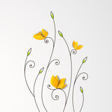 Floral background with paper butterflies