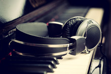 Piano Keyboard And Headphones,...