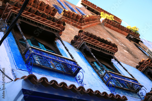 Recess Fitting Morocco Windows in blue town Chefchaouen, Morocco