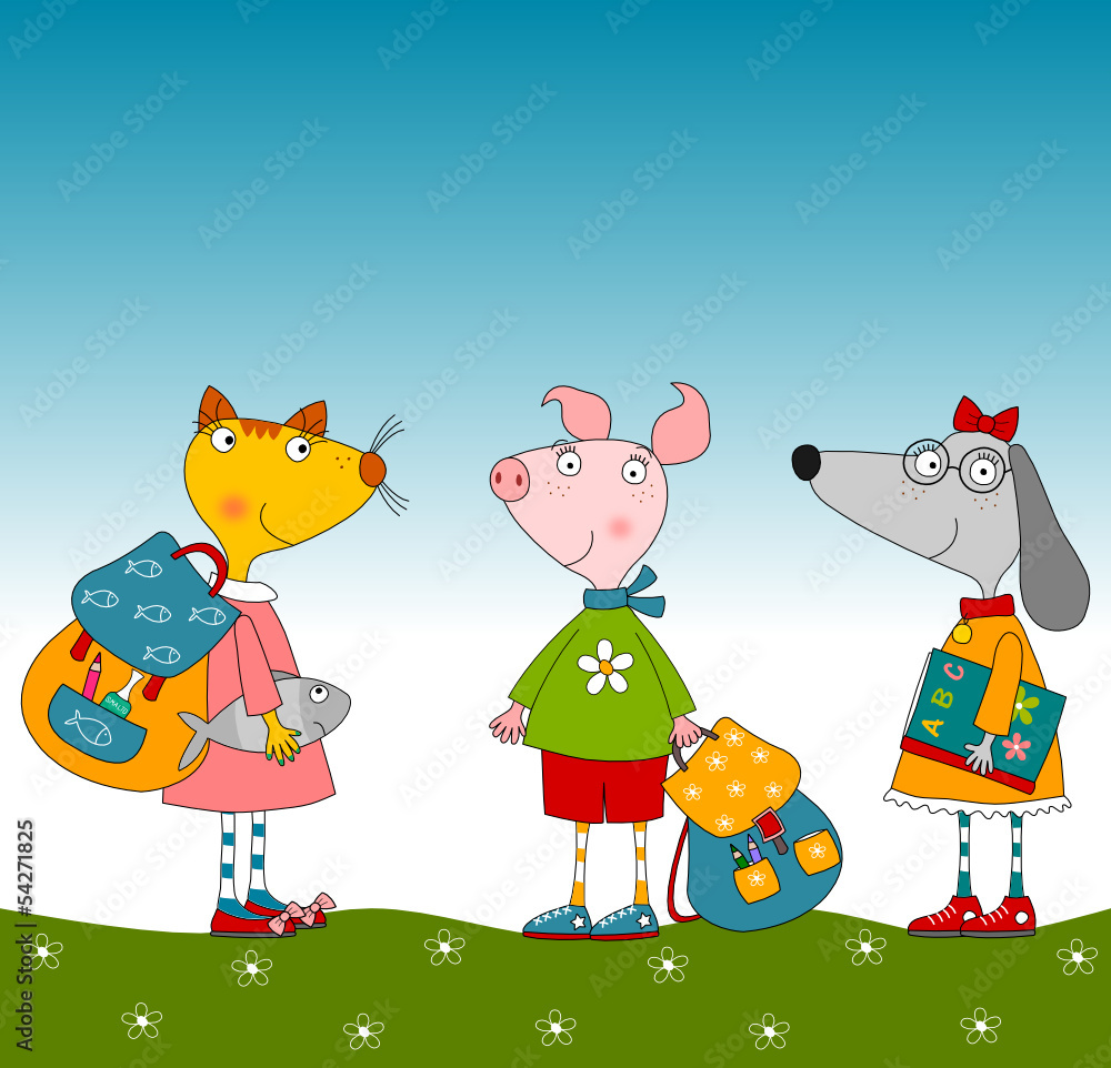 100 Pictures Cartoon Characters poster cartoon characters. pig, dog and cat - nikkel art