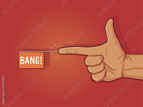 """Photo  Illustration of a gun hand gesture with """"bang"""" flag"""