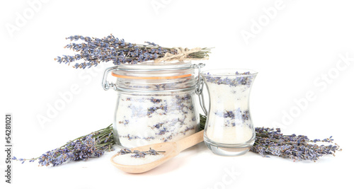 Tuinposter Kruiden 2 Jar of lavender sugar and fresh lavender flowers isolated