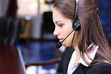 Call Center Operator At Work.