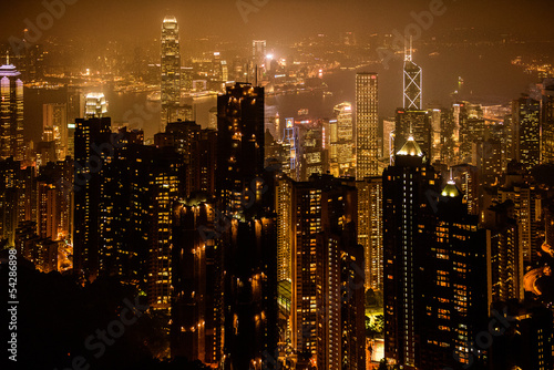 Foto auf AluDibond Hongkong View of Victoria harbor from the peak at Hong Kong