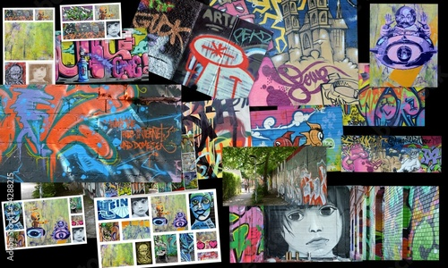 Foto auf Leinwand Graffiti collage collage...art urbain