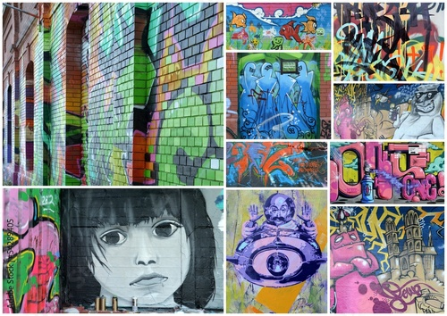Deurstickers Graffiti collage collage...urban comtest