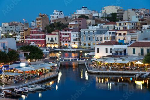 Fototapety, obrazy: Aghios Nikolaos night cityscape, eastern Crete, Greece