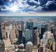 Manhattan, New York City. Terrific view of city skyscrapers