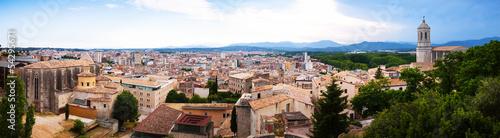 Top panoramic view of european city. Girona
