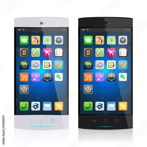 白と黒のスマートフォン