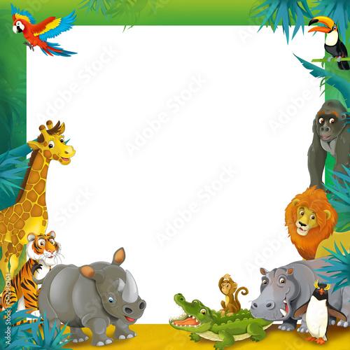 Cartoon safari - jungle - frame border template - Buy this stock ...