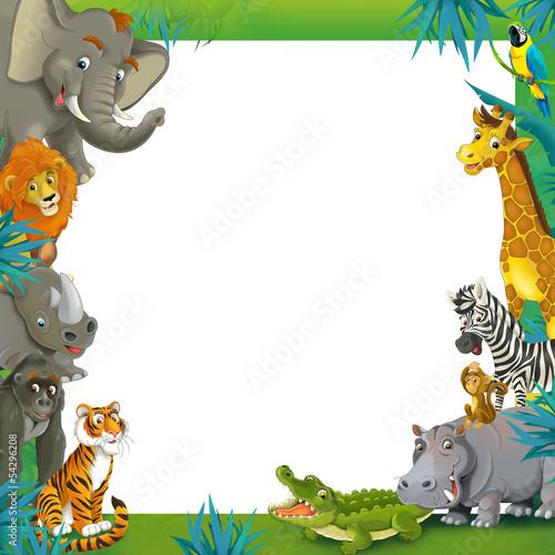 Cartoon Safari Jungle Frame Border Template Buy This Stock