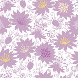 Vector purple shadow florals seamless pattern background with