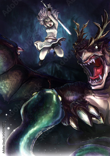 Tuinposter Ridders A warrior girl is fighting a giant serpent with her dragon